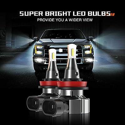 SEALIGHT H8 H11 H16 LED Fog Light Bulb, 5800 Lumens 6000K Xenon White Super Bright CANBUS LED Lights, Halogen Fog Light Bulb Replacement for Cars Trucks Vans, Pack of 2: Automotive