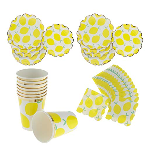 Prettyia 40pcs Set Lemon Paper Plates Cups Napkins Party Baby Shower Tableware DIY