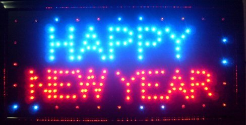 Price comparison product image CHENXI Merry Chirstmas / Happy New Year LED Open Sign Rushed Sale Graphics Animated Motion Running 48 X 25 CM Indoor (48 X 25 CM,  Happy New Year-02)