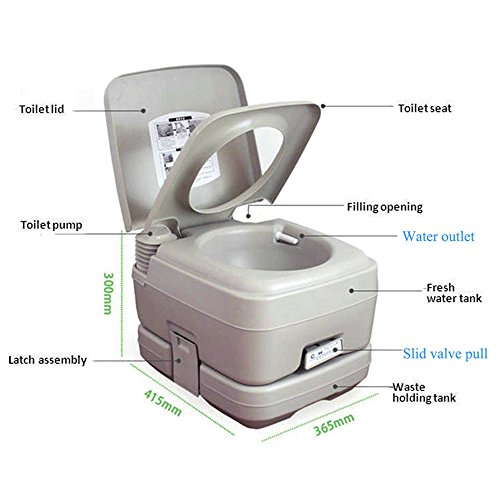Portable Removable Flushing Toilet Outdoor Camping Travel Potty W/ Wash Basin Faucet Pipe Joint White 2.8 Gallon With Ebook by MRT SUPPLY (Image #3)