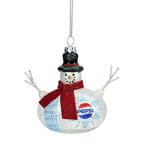 Northlight Snow Filled Glass Country Snowman Pepsi Christmas Ornament, 3.75