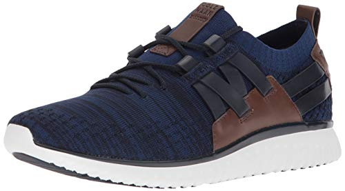 Cole Haan Men's Grand Motion Woven Stitchlite Sneaker Navy Ink/Peony Knit/British Tan/Optic White 10.5 M US from Cole Haan