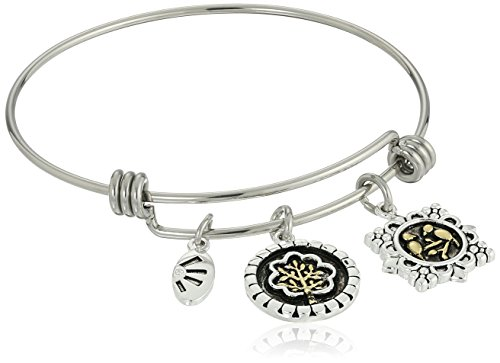 Two-Tone Silver Plated Our Lives May Grow in Different Directions Yet Our Roots Remain as One, You Brighten My Day in a Lovely Way Adjustable Bangle Bracelet