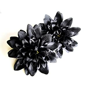 "(4) Black Silk Dahlia Flower Heads - 4"" - Artificial Flowers Dahlias Head Fabric Floral Supplies Wholesale Lot for Wedding Flowers Accessories Make Bridal Hair Clips Headbands Dress 12"