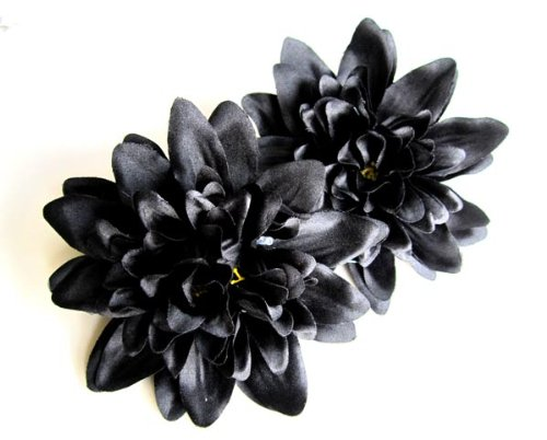 4-Black-Silk-Dahlia-Flower-Heads-4-Artificial-Flowers-Dahlias-Head-Fabric-Floral-Supplies-Wholesale-Lot-for-Wedding-Flowers-Accessories-Make-Bridal-Hair-Clips-Headbands-Dress