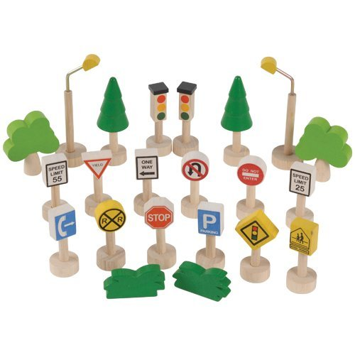 (Wood Traffic Signs, Trees & Street Lamp Set for Kids)