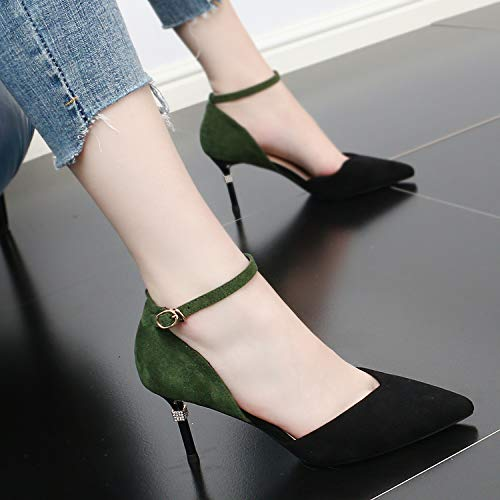 Buckle Thin Summer Mouth 8Cm Single Black Heel SFSYDDY Shallow And Shoes Simple Sexy Fashion Color Sharp Matching High Shoes 6pqwPf
