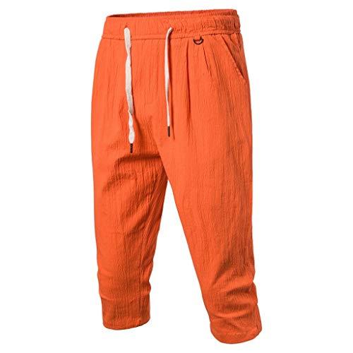 iHHAPY Men's Summer Beach Shorts Linen Solid Casual Capri Elastic Waist Classic Fit Drawstring Cropped Pants Trousers Orange