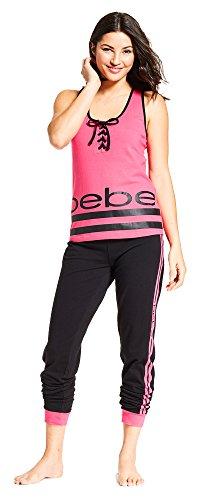 bebe Womens Sleeveless Scoop Neck Tank Top Shirt Pants Pajama Sleep Set Bright Pink Medium ()