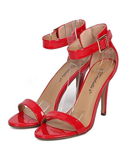 Breckelles Kvinnor Patent Stilett Sandal - Bröllop, Dressy, Formellt - Ankelbandet Häl - Gg43 Av Rött