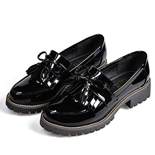 Women's Penny Loafers Flat Low Heel Bow Tassel Patent Leather Slip On Oxfords Shoes Black