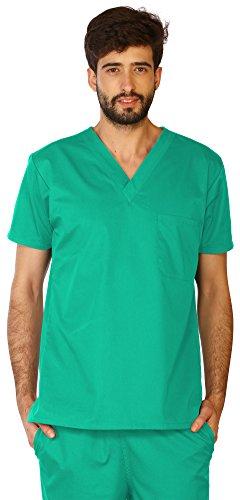 LifeThreads Classic Men's Scrub Top - Antimicrobial - Fluid Resistant - Jade Green - (Jade Scrub Top)