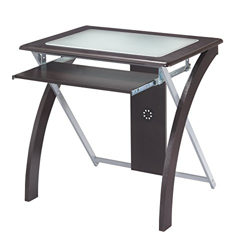 Office Star X-Text Computer Desk with Pullout Keyboard Tray and Frosted Glass Top, Espresso and Silver Accents - Glass Top Silver Finish
