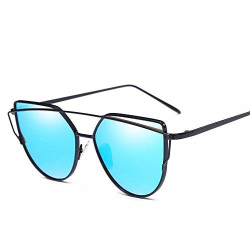 Gafas de Gafas Sol Black Marco Plata Gafas sol Eye de Chip de Sol de enmarcado Liuxc Metal de Sol Cat chip Azul azul de Gafas de Colores con xOYS5ZSq