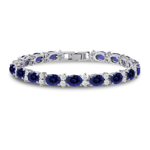 Black Diamond Fashion Bracelet (Kezef Cubic Zirconia Tennis Bracelet CZ Round Cut Oval Cut Simulated Blue Sapphire Silver Plated Brass 7 inch)