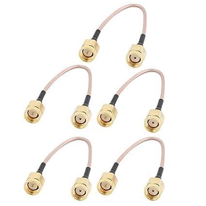 eDealMax 5 piezas de oro RP-SMA Macho a Macho adaptador de conector SMA RG178