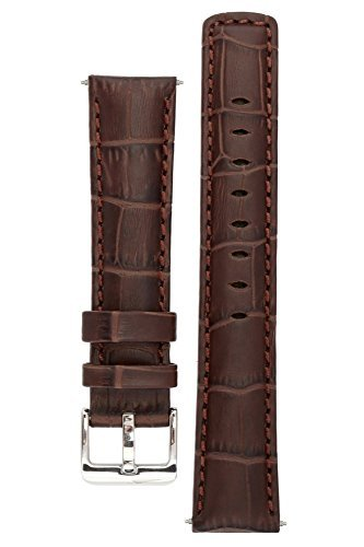 signature-freedom-coffee-22-mm-watch-band-replacement-watch-strap-genuine-leather-silver-buckle