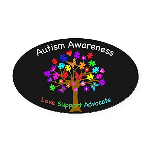 CafePress - Autism Awareness Tree - Oval Car Magnet, Euro Oval Magnetic Bumper -