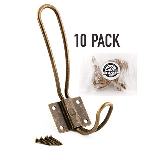 HOOXX Rustic Coat Hooks | 10 Pack of Decorative Vintage Hangers with Metal Screws Included | Wall Mounted Hard Antique Industrial Heavy Duty Hook Set | Best for Farmhouse Shabby Chic Hanging Look