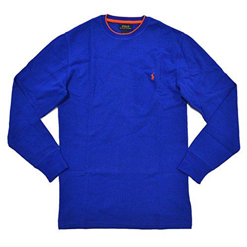 Polo Ralph Lauren Men's Long-sleeved T-shirt/Sleepwear/Thermal (Medium, Royal Blue/Orange Tipped)