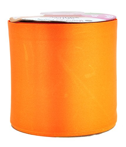 (Mandala Crafts Fabric Satin Ribbon for Hair Bow Making, Sewing, Gift Wrapping, Flower Bouquets, Party Decorating, and Weddings (3 Inches 25 Yards, Orange))