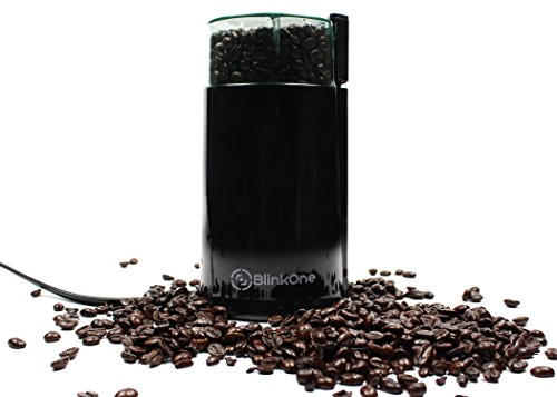 BlinkOne Electric Coffee Grinder with Stainless Steel Blades (Black)