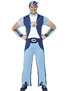 Sportacus Costume - Lazy Town - Adult Halloween Fancy Dress Costume - Medium (peluca)