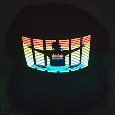 Wenasi Light Up Sound Activated Hat, DJ LED Flashing Disco Hat Cap for Halloween Music Festival Costume (One Size): Clothing