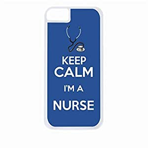 Keep Calm I'm a Nurse-Blue- Hard White Plastic Snap - On Case with Soft Black Rubber Lining-Apple Iphone 5 - 5s - Great Quality!