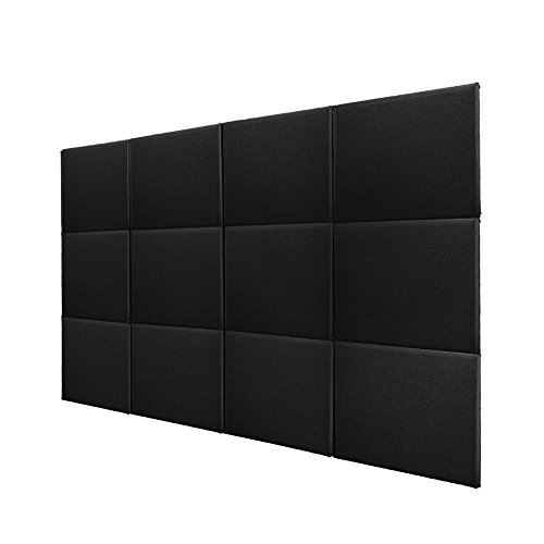 bqlzr black fiberglass acoustic home studio soundproof sound absorbing panel tiles for wall ceils pack of 12