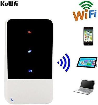 kuwfi Router WiFi Hotspot móvil móvil con Mini – Router inalámbrico con tarjeta SIM ranura para tarjeta SIM 3 G 2100 MHz viaje 850 MHz Apoyo exterior ...