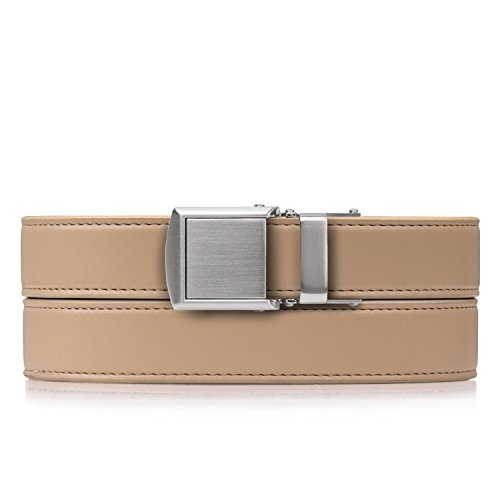 Beige Skinny Belt with Silver Buckle