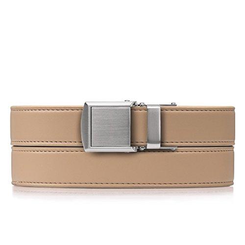 Beige Skinny Belt with Silver Buckle