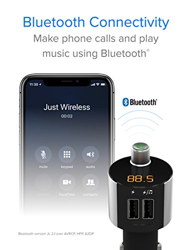 Just Wireless Bluetooth FM Transmitter, Wireless Bluetooth FM Radio Transmitter with Hands-Free Calling and 2 USB Ports by Just Wireless (Image #2)