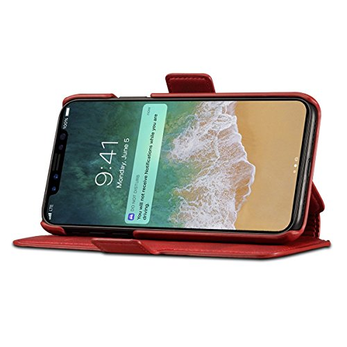Scheam iPhone X Flip Cover, Case, Skins Card Slot [Stand Feature] Leather Wallet Case Vintage Book Style Magnetic Protective Cover Holder for iPhone X - Red by Scheam (Image #3)