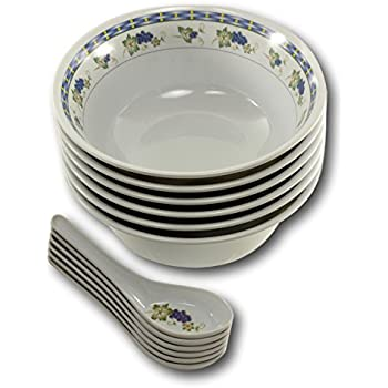 Asian Soup Spoons Bowls - Melamine White Chinese Spoon Pho Rice Miso Bowl 6 Set (  sc 1 st  Amazon.com & Amazon.com   Asian Soup Spoons Bowls - Melamine White Chinese Spoon ...