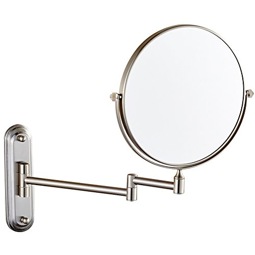 Nickel Wall Mount Brush - GURUN Wall Mount Magnifying Mirror Brushed Nickel Finish with 10x Magnification,8-Inch Two-Sided Swivel M1206N(8in,10x)