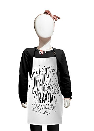 Lunarable Raven Kids Apron, Destiny is on Raven Wings Quotation with Feathers Stars Circles and The Bird, Boys Girls Apron Bib with Adjustable Ties for Cooking Baking and Painting, Black ()