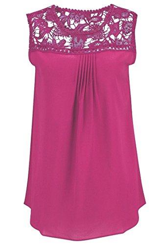 Manzocha Women's Lace Chiffon T Shirt Stitching Blouse Hollow Out Tops – Medium, RoseRed