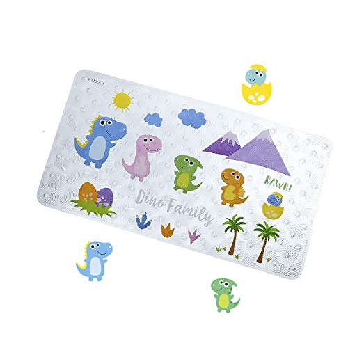 TONGYAN Kid Bath Mat Anti Slip Baby Bathtub Mats Non Skid Toddler Shower Tub Mats for Bathroom Safety with Suction Cups,Square,Environmental PVC,27.5 X15.7 Inch (Dinosaur Family) FHD-06 ()