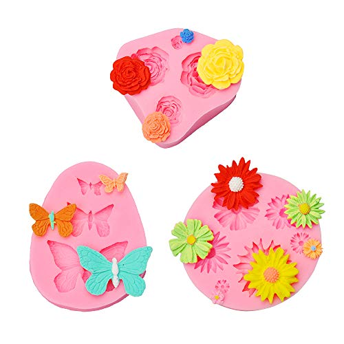 Decorate Fondant Cake (3 Pack Silicone Mold Including Roses Daisy Flower Mold, Butterfly Silicone Fondant Mold Cake Decorating Chocolate Sugar Craft Mould)