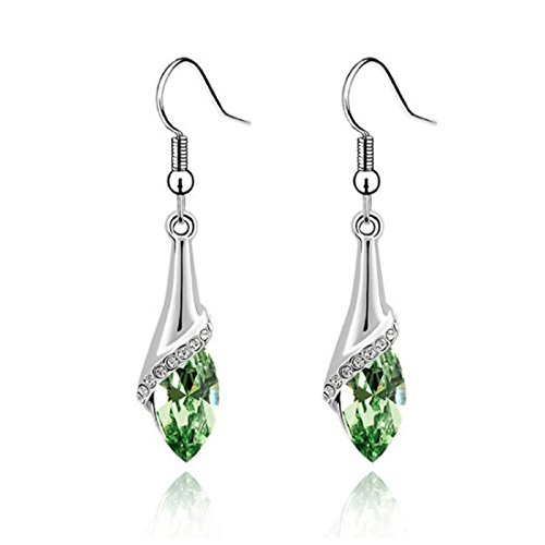 Voberry Fahion Women's Lady Crystal Marquise Cut Teardrop Wedding Hook Earrings Gift (Green)