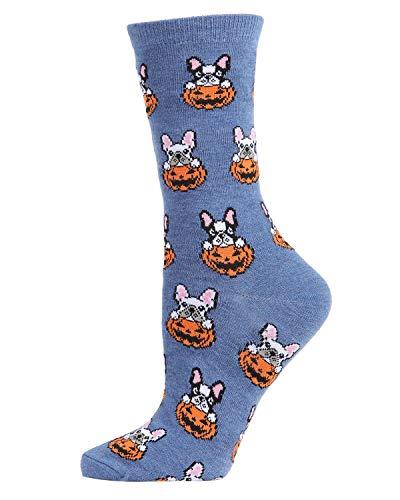 MeMoi Pumpkin Puppy Holiday Crew Socks | Halloween Socks Denim Heather MCV05778 One Size 9-11