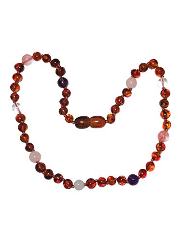- Certified Baltic Amber and Gemstone Necklace by UMAI - Pain Relief from Teething - Unisex- Safely Knotted Beads (Polished Pink/Purple)