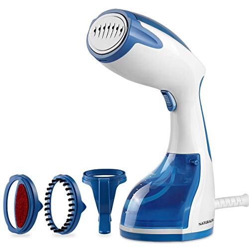 NATURALIFE Powerful 1200-Watt Handheld Steamer for Clothes, Garment Fabric Wrinkle Remover, 30s Fast Heat-up, Auto-Off, 8.79 oz. Large Detachable Water Tank, Stainless Steel Soleplate, 3 Attachments