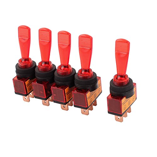 uxcell 5 Pcs DC 12V 20A 12mm Thread Panel Mount SPDT 2-Position Toggle Switch Red