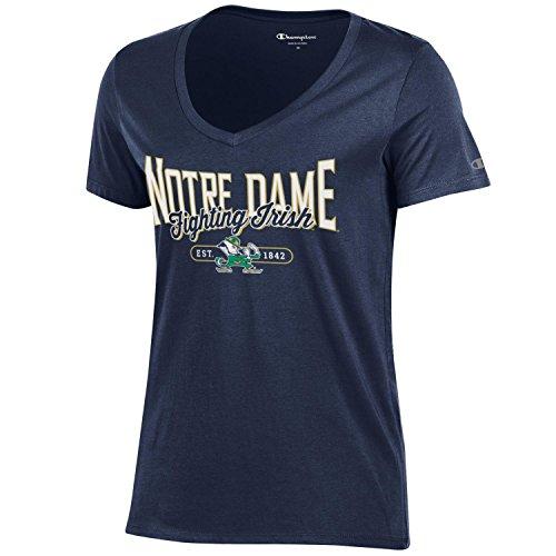 Champion NCAA Women's University Short Sleeve Tagless Lady's V-Neck Tee, Notre Dame Fighting Irish, X-Large ()