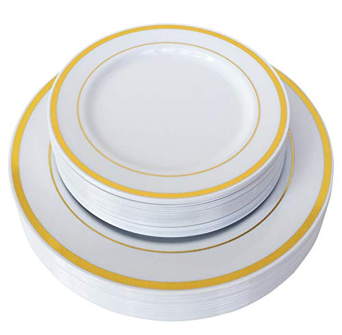(50 Piece Gold Plastic Plates for 25 Guests, Heavy Duty Reusable Disposable plastic plates with Gold Rim for Party and Wedding with Dinner & Salad/Dessert Plates 25 Each )