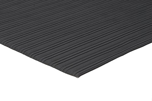 Comfort Step 3/8'' Anti-Fatigue Mat with Ribbed Emboss, Solid Black, 2' x 3' by Portico Systems (Image #2)