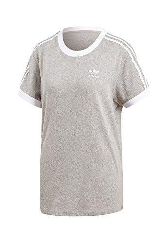 adidas Originals Damen T-Shirt 3 Stripes Tee CY4982 Grau, Size:32